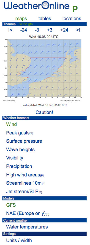 mobile sailing weather forecast